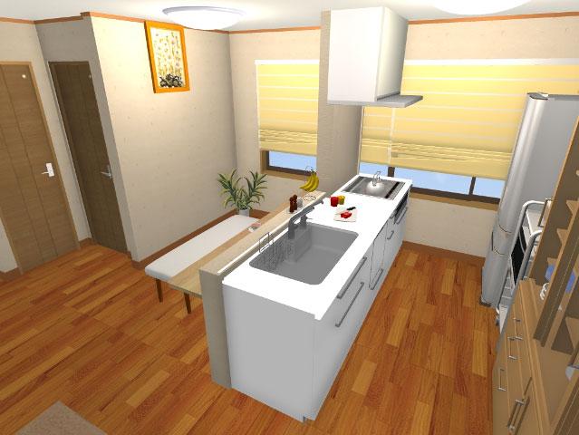 キッチンのリフォーム3Dパース2