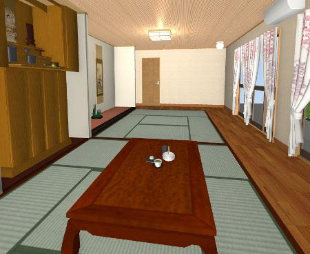 和室のリフォーム3Dパース