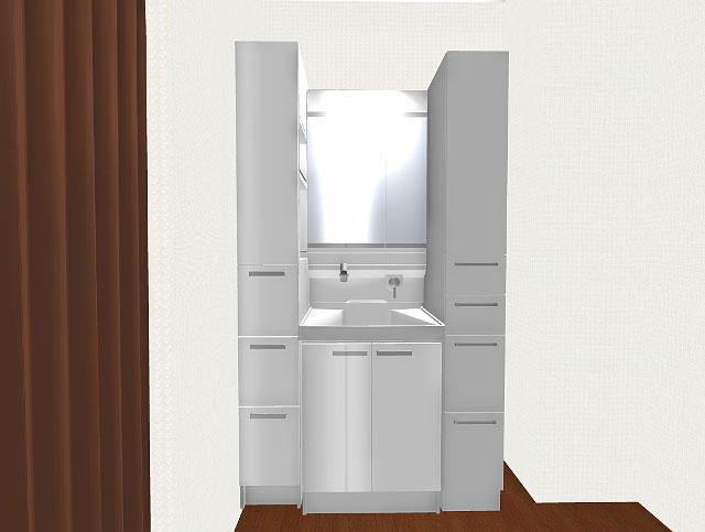 洗面所のリフォーム3Dパース