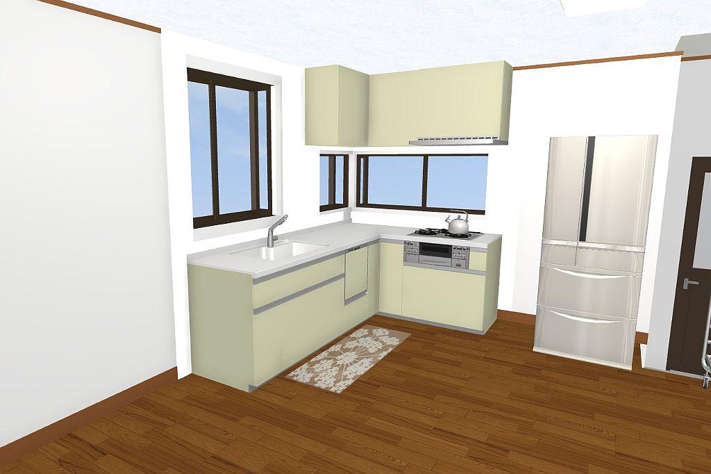 浦添市★キッチンリフォーム(3Dパース提案)